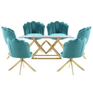Parma Glass Dining Set In Gold Base With 6 Green Mario Chairs