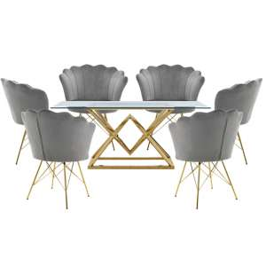 Parma Glass Dining Set In Gold Base With 6 Grey Conrad Chairs