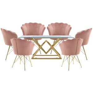 Parma Glass Dining Set In Gold Base With 6 Pink Conrad Chairs