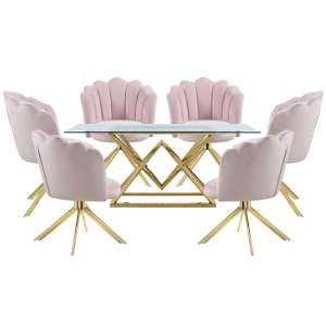 Parma Glass Dining Set In Gold Base With 6 Pink Mario Chairs