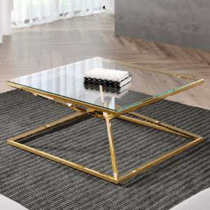 Parma Square Clear Glass Coffee Table With Gold Steel Legs
