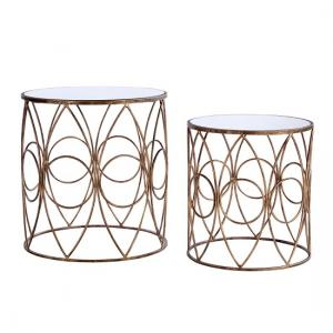 Parsian Nest of Tables In Mirror Top With Gold Metal Frame