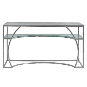 Parton Clear Glass Study Desk With Silver Metal Frame
