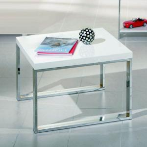 Pat Square Coffee Table in White With Metal Legs