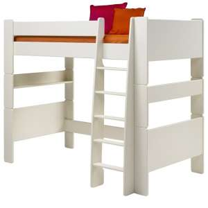 Pathos Wooden High Sleeper Bed In White With Ladder