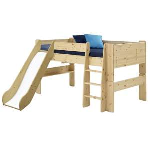 Pathos Wooden Mid Sleeper Bed In Pine With Ladder And Slide