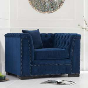 Pauleso Velvet Upholstered Armchair In Blue