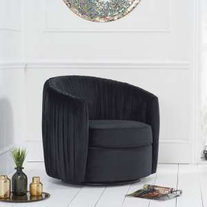 Pavos Tub Design Velvet Swivel Lounge Chair In Black