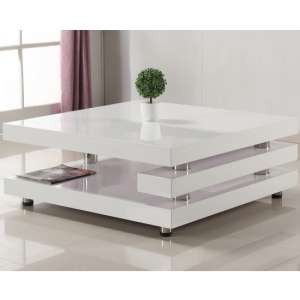 Paxton Modern Coffee Table Square In High Gloss White