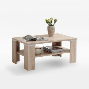 Payton Wooden Coffee Table In Oak Tree With Undershelf