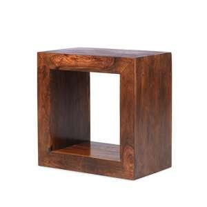 Payton Wooden Cube Display Stand In Sheesham Hardwood