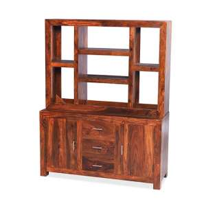Payton Wooden Display Cabinet Wide In Sheesham Hardwood