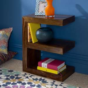 Payton Wooden E Shaped Display Stand In Sheesham Hardwood