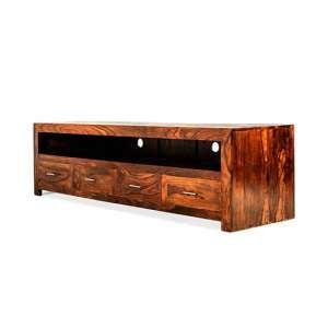 Payton Wooden TV Stand Large In Sheesham Hardwood With 4 Drawers