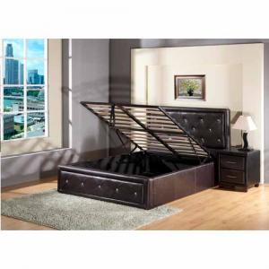 Alexandra Leather Effect Bed in Black Finish