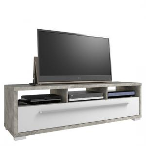 Pearl TV Stand In Concrete Coloured And White High Gloss