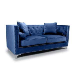 Peckham 3 Seater Sofa In Blue Brushed Velvet With Chrome Legs