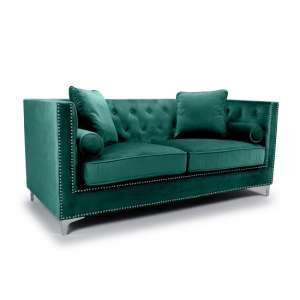 Peckham 3 Seater Sofa In Green Brushed Velvet With Chrome Legs