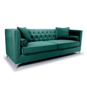 Peckham 4 Seater Sofa In Green Brushed Velvet With Chrome Legs
