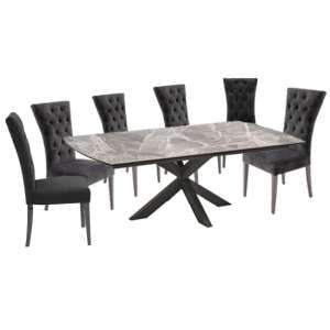 Pelagius Extending Dining Table With 6 Pembroke Charcoal Chairs
