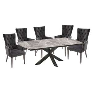 Pelagius Extending Glass Dining Table 6 Pembroke Charcoal Chairs