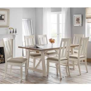 Pembroke Dining Set In Oak And Ivory With 6 Chairs
