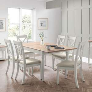Pendleton Extending Dining Table In Limed Oak And Grey With 6 Chairs