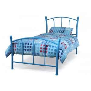Penny Metal Single Bed In Blue Gloss