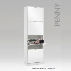 Penny5 Tall Mirrored Shoe Cabinet In White