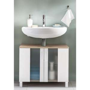 Perco Bathroom Sink Vanity Unit In White And Sagerau Oak