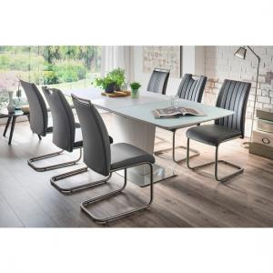 Perry Extendable Glass Dining Set Matt White With 6 Riva Chairs