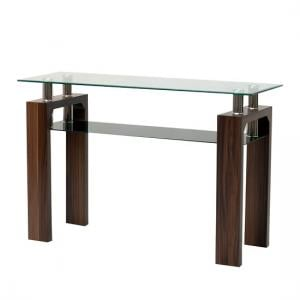 Tetro Glass Console Table Rectangular In Clear With Walnut Legs