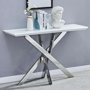 Petra Glass Top Console Table In White High Gloss And Chrome Leg
