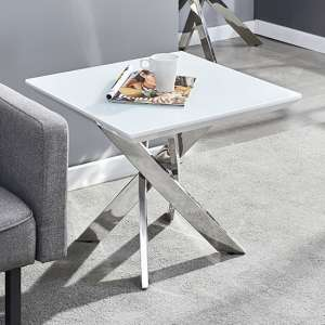 Petra Glass Top Lamp Table In White High Gloss And Chrome Legs