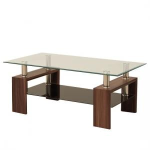 Petra Glass Coffee Table Rectangular In Clear With Walnut Legs