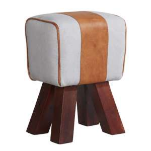 Phaet Faux Leather Canvas Stool In White And Brown
