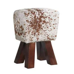 Phaet Faux Leather Cowhide Stool In Natural