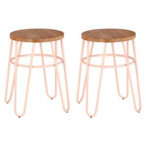 Pherkad Wooden Hairpin Stools With Pink Metal Legs In Pair