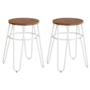 Pherkad Wooden Hairpin Stools With White Metal Legs In Pair