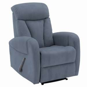 Phoebe Fabric Upholstered Recliner 1 Seater Sofa In Blue