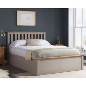 Phoenix Ottoman Wooden King Size Bed In Pearl Grey