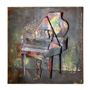 Piano forte 3D Picture Metal Wall Art In Multicolor