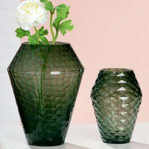 Piedi Glass Set Of 2 Decorative Vases In Green
