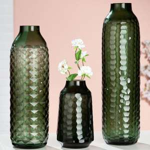 Piedi Glass Set Of 3 Decorative Vases In Green