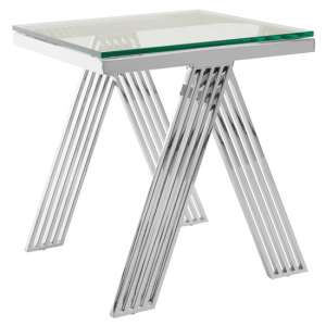 Markeb Clear Glass End Table With Silver Legs