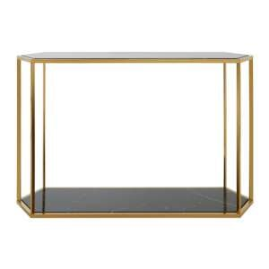 Markeb Marble Console Table In High Gloss Black