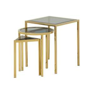 Pike Glass Nest Of 3 Tables In Smoked And Gold Plated Steel Base