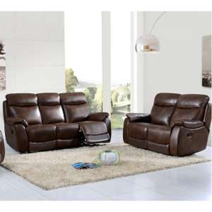 Pincoya Leather 3 Seater Sofa And 2 Seater Sofa Suite In Tan