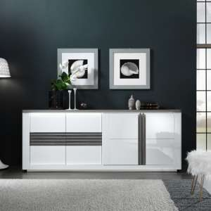 Pinellas Large Sideboard In Grey Oak And White Lacquered