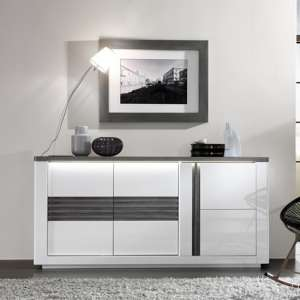 Pinellas Small Sideboard In Grey Oak And White Lacquered